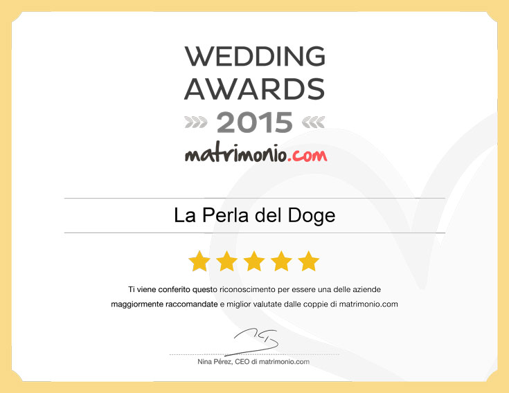 La Perla del Doge vince i Wedding Awards 2015