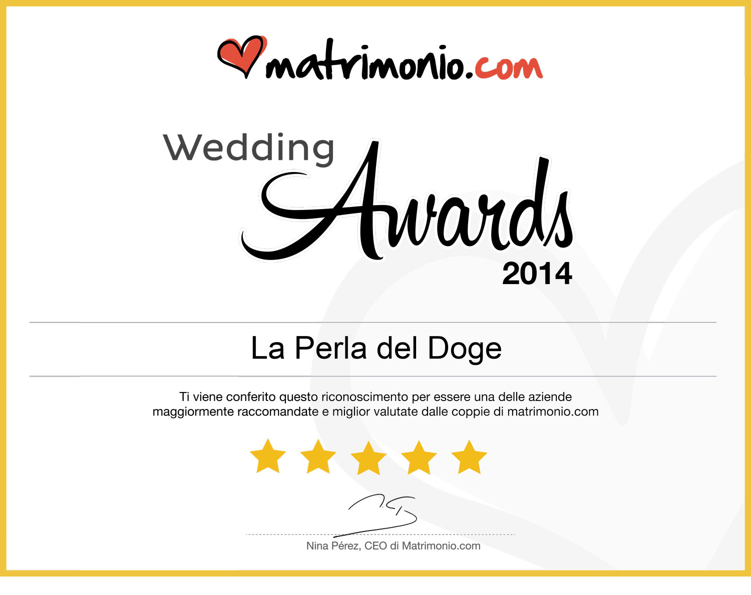 La Perla del Doge vince i Wedding Awards 2014 di Matrimonio.com